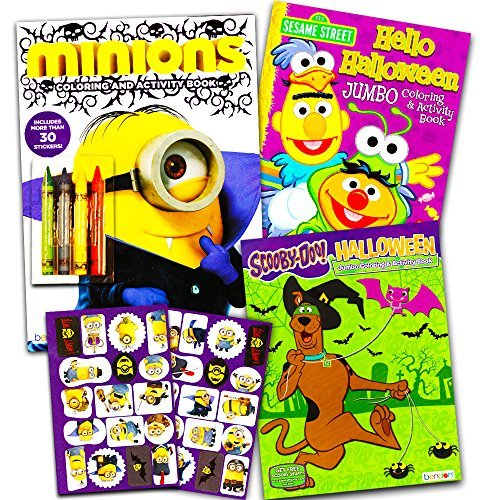 Halloween Coloring Books Super Set for Kids Toddlers -- 3 Halloween Coloring and Activity Books with Crayons and