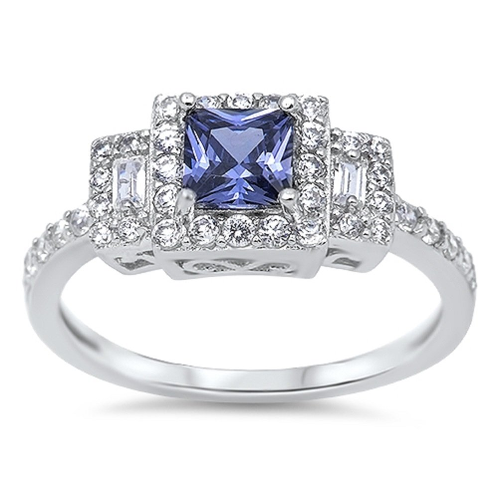 CloseoutWarehouse Princess Cut Simulated Tanzanite Cubic Zirconia Halo Ring Sterling Silver Size 7
