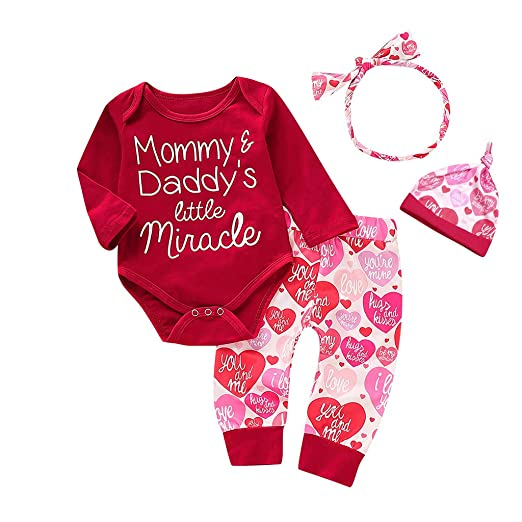 572c16997 Image Unavailable. Image not available for. Color: Tronet Baby onesie Newborn  Infant Baby Boy Girl Letter Romper Tops Pants Hat Set Valentine Outfits
