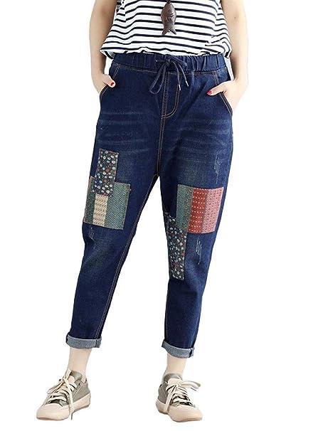 a0dbbc5703b756 Adelina Jeans da Donna Pantaloni con Toppe con Abbigliamento Coulisse  Elastico in Vita Jeans da Donna Tasche Laterali Jeans Casual: Amazon.it:  Abbigliamento
