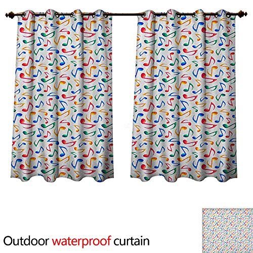 (Music Outdoor Curtain for Patio Cute Musical Notes Melody Kids Beats Watercolor Radio Rhythm Vibes Artful Design W55 x L72(140cm x 183cm))