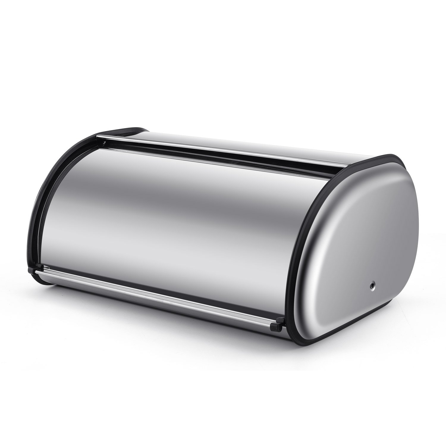Flexzion Stainless Steel Bread Box Holder - Metal Roll Top Lid Bread Container Storage Bin Keeper for Homemade Cake Buns Food, Ideal for Kitchen Countertop Table Household