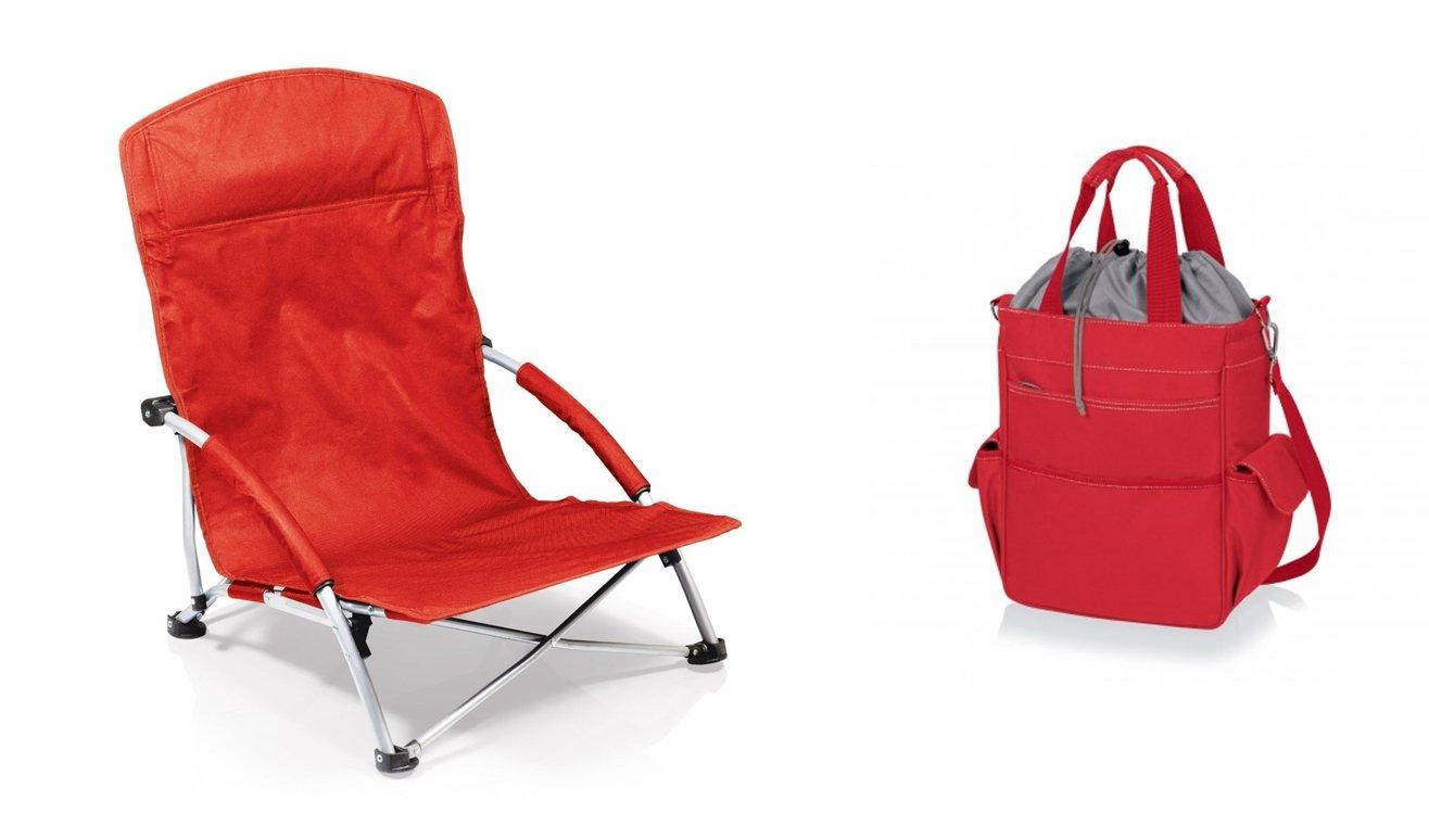 ピクニック時間Tranquility椅子とActivo Cooler Tote – レッド、2のセット B06XTBC2FN