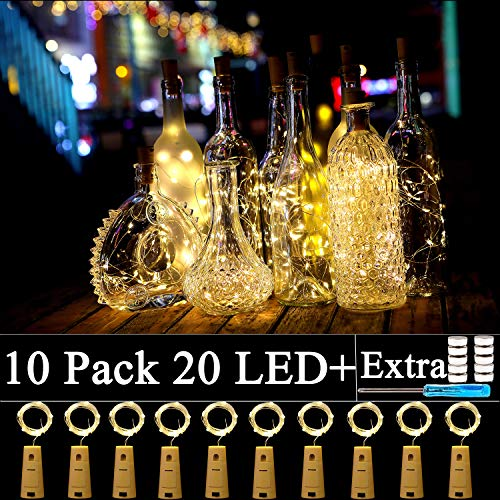 10 Pack Wine Bottle Lights with Cork-20 Led Battery Powered Copper Wire Fairy String Lights for Garden, Patio Pathway Décor, Outdoor, DIY, Party, Wedding (10, Warm - Light Win