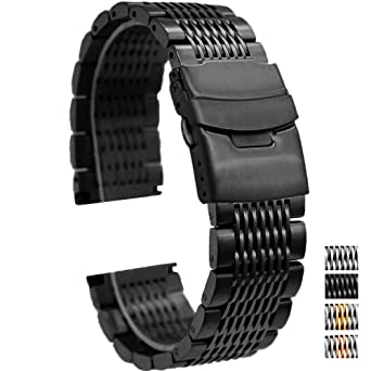 ab92960990fef Luxury Black Stainless Steel Watch Bands Straps Brushed Metal Bracelet 24mm  Mesh Watch Band with Double