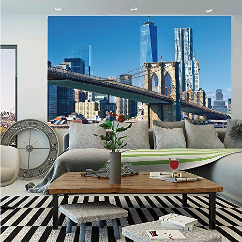 (United States Removable Wall Mural,Lower Manhattan Skyline Brooklyn Bridge in New York City Famous Landmark,Self-Adhesive Large Wallpaper for Home Decor 66x96 inches,Light Blue Tan)