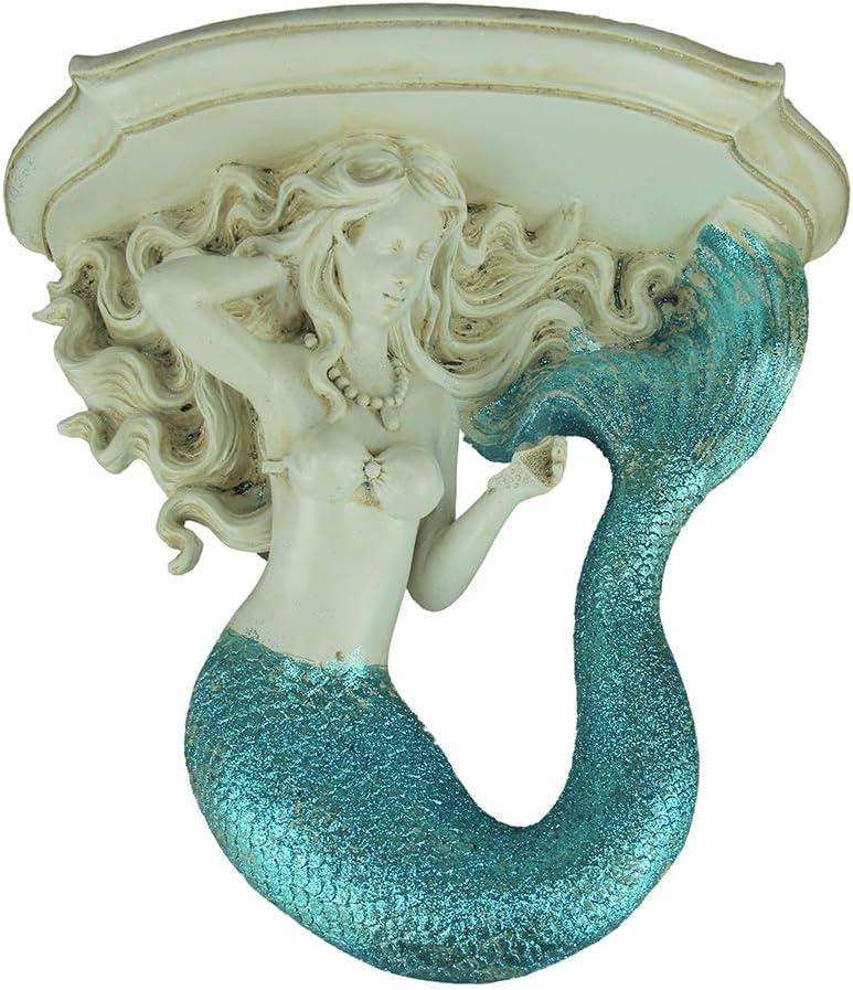 Chesapeake Bay Ltd Glittery Coastal Blue and White Mermaid Wall Mounted Corbel Shelf