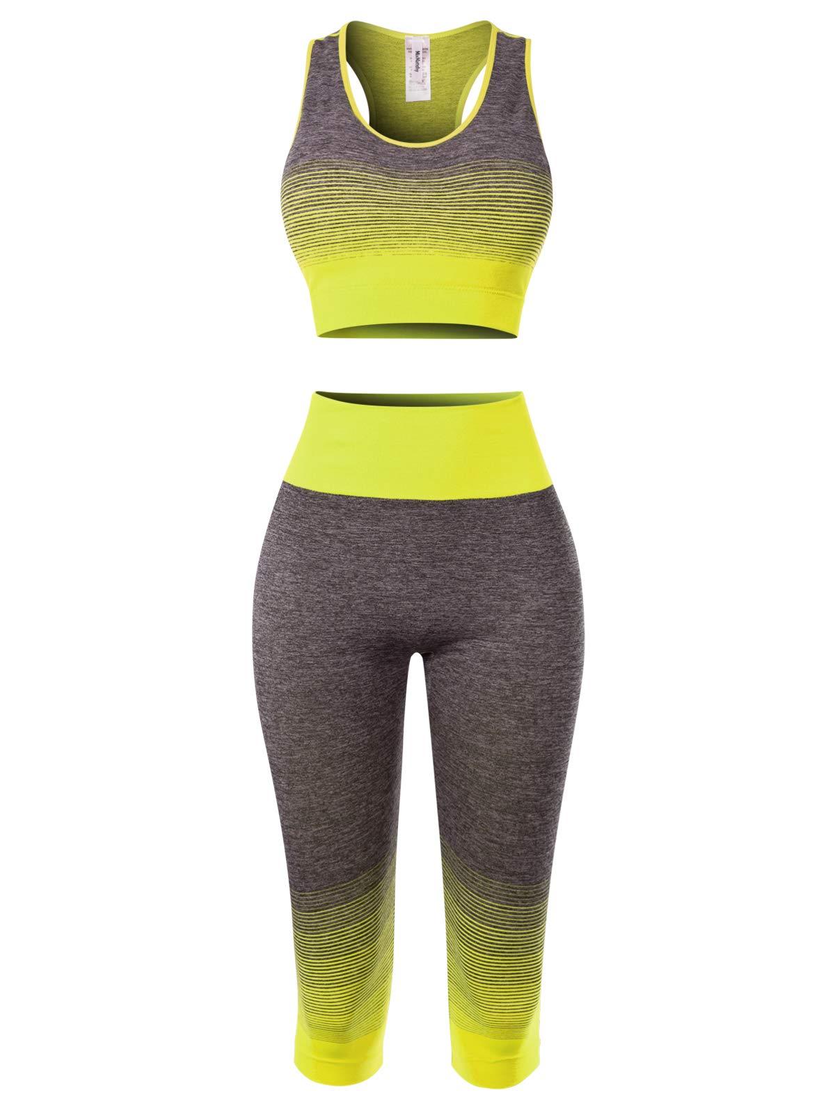 MixMatchy Women's Two-Piece Sports Bra + Capri Leggings Gym Yoga Wear Set Neon Yellow ONE by MixMatchy