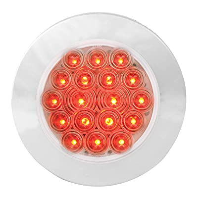 "GG Grand General 75883 Red/Clear LED Light (4"" Fleet 18 Flange Mount with Bezel, 3 Wires): Automotive"