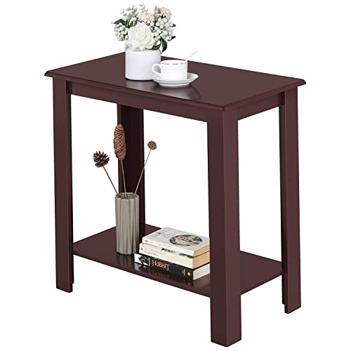 Yaheetech 2 Tier Narrow Chairside End Table with Lower Storage Shelf for Small Spaces Bedside Corner Table Simple Design, Wine Red
