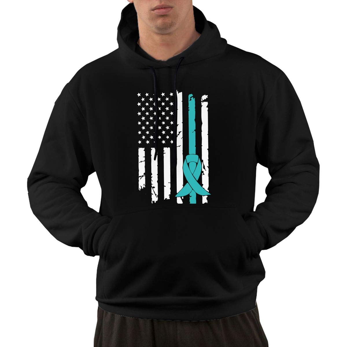 KEQ/&JSW Mens Long Sleeve Fleece Hoodie PCOS Cancer Awareness USA Flag-1 Sweater with Pockets