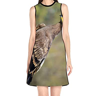 2f460ffadf MONILO Booby Bird Of Prey Women s Lady Sleeveless Mini Dress Print Party  Dress Tank Dress