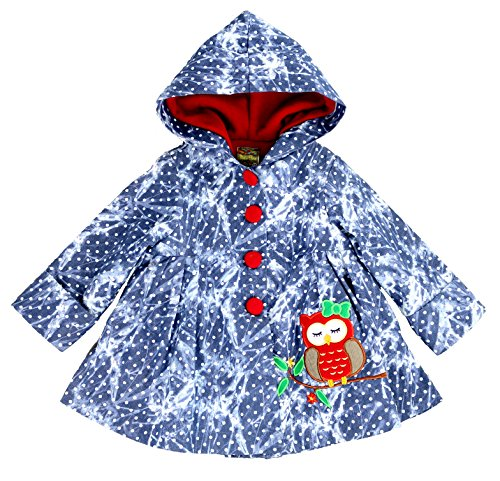 Maria Elena - Toddler & Girls Owl-About You Patchwork Denim Jacket Lined with Soft & Warm Fleece 2T