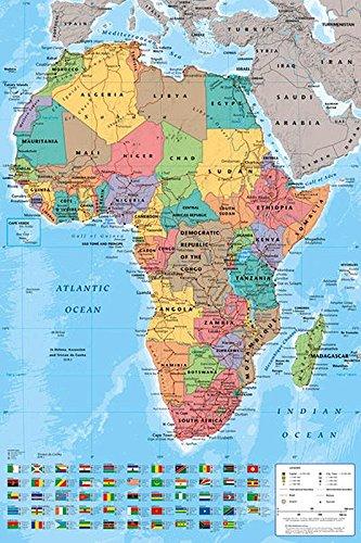 Amazon De Close Up Afrika Poster Karte Mit Allen Flaggen 61cm X