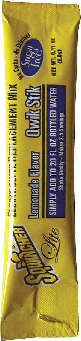 Sqwincher 060103-LA 0.11 oz Lite Qwik Stik Powder Concentrate Electrolyte Replacement Beverage Mix, Lemonade Flavor (10 Bags of 50)