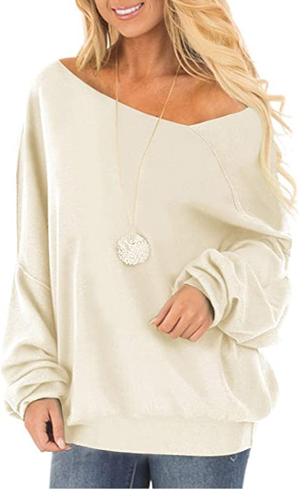 5be0bc578f672b Off One Shoulder Sweatshirt for Women Long Sleeve Pullover Slouchy Baggy  Tops