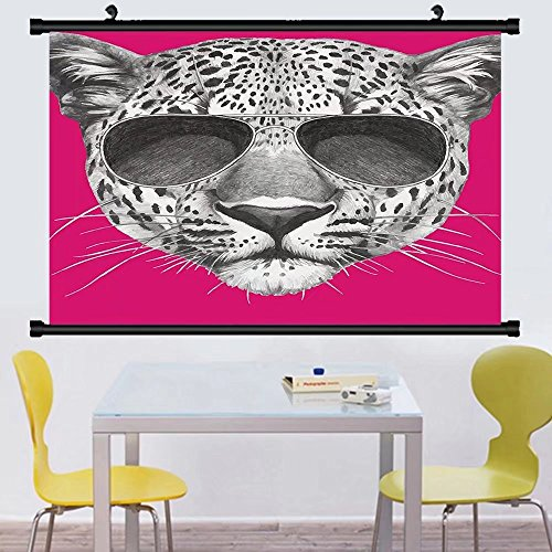 Gzhihine Wall Scroll Modern Hipster Leopard with Aviators Sunglasses Portrait Cool Wild Animal llustration Wall Hanging Magenta Grey - Aviator Jackson Sunglasses Michael