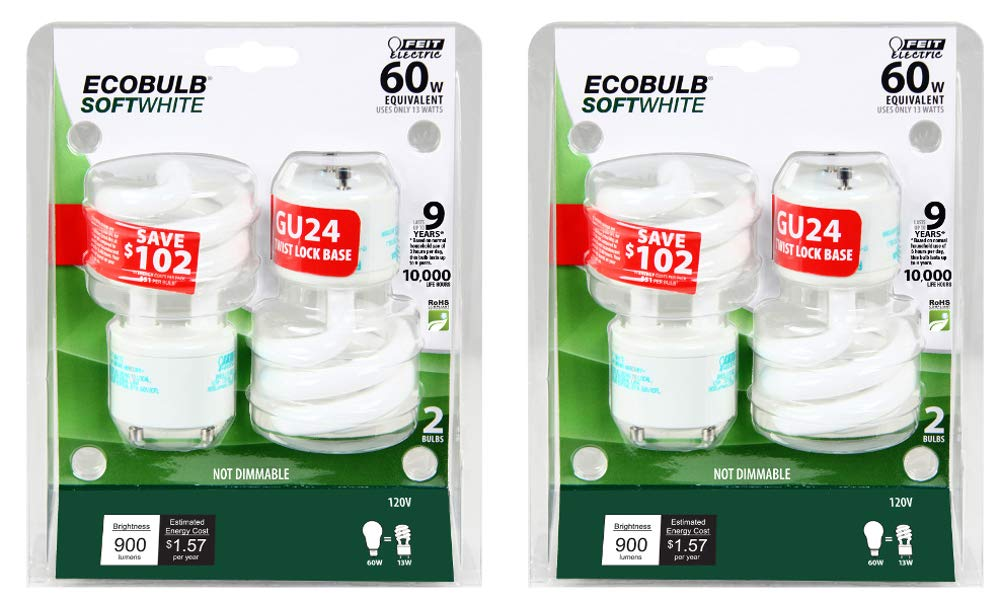 Feit Electric BPESL13T/GU24/2 900 Lumen Soft White Mini Twist GU24 CFL, Uses Up To 78% Less Energy, Compact Fluorescent, Life Up To 10000 Hours, 2 Blister Packs with 2 Bulbs each (4 Bulbs Total) by Feit Electric