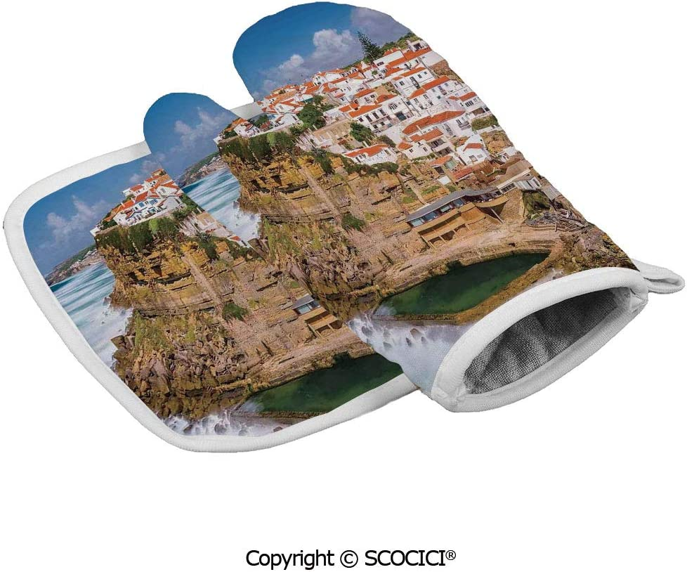 SCOCICI Oven Mitts Glove - Portugal Seaside on The Cliffs with Sky View Mediterranean Ocean Village Heat Resistant, Handle Hot Oven Cooking Items Safely