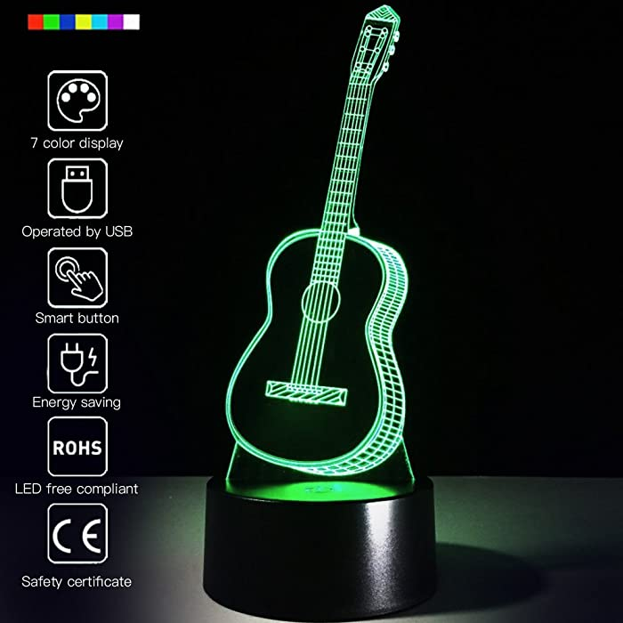 3D Glow LED Night Light Creative Guitar Inspiration 7 Colors Optical Illusion Lamp Touch Sensor Perfect for Home Party Festival Decor Great Gift Idea (Guitar)