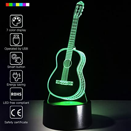 Creative 3d Light Electric Guitar Model Illusion 3d Lamp Led 7 Color Changing Usb Remote Touch Sensor Desk Light 3d Night Light Discounts Price Led Lamps Lights & Lighting