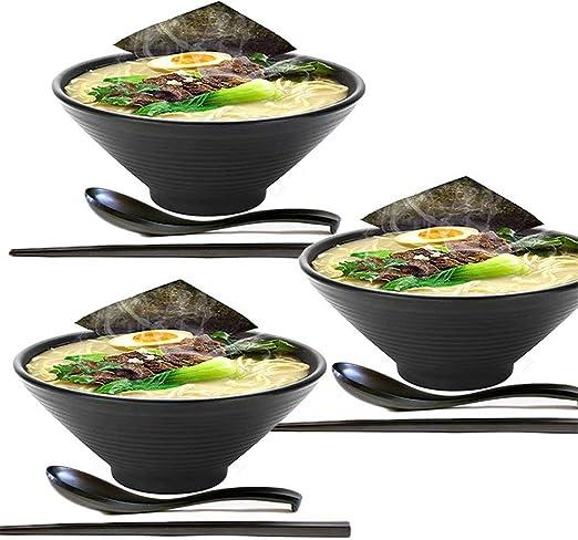 KLDX 3 Juegos (9 Piezas) Tazón de Ramen japonés Grande de plástico Duro de melamina con Palillos a Juego y Cuchara para Fideos asiáticos Udon Soba Pho: Amazon.es: Hogar
