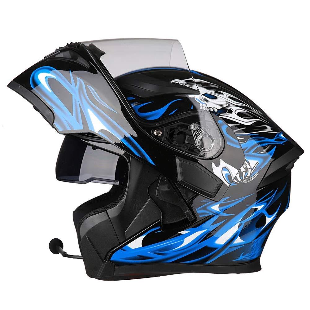Schwarz Blau 54-64CM JIAND Bluetooth Helm Motorrad Full Face Klapphelm Motorradhelm mit doppelter Linse