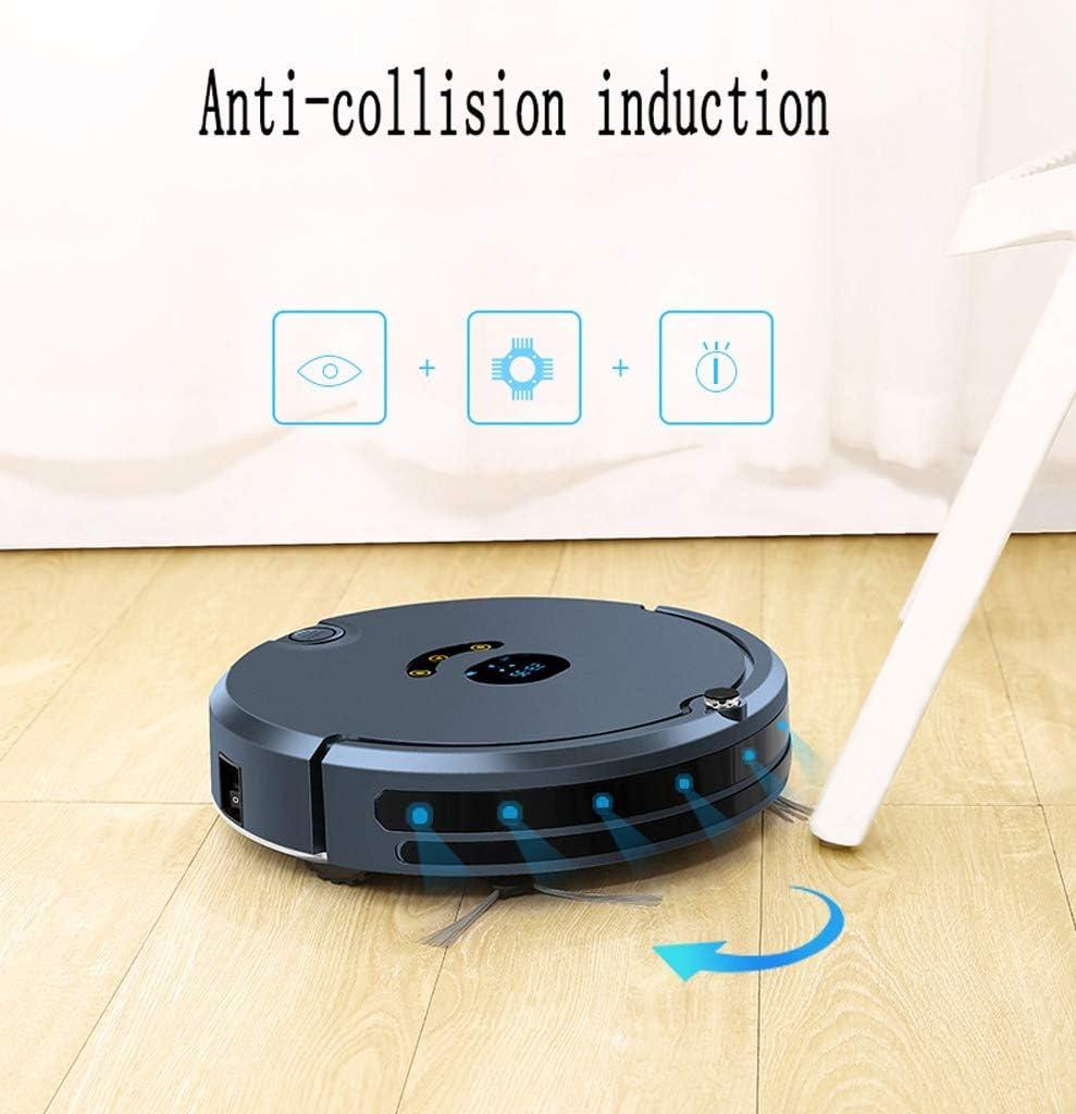 Aspirateur robot avec charge automatique, aspirateur robot avec application Android/iOS for poils d\'animaux, tapis, sol dur (Color : Black) Pink