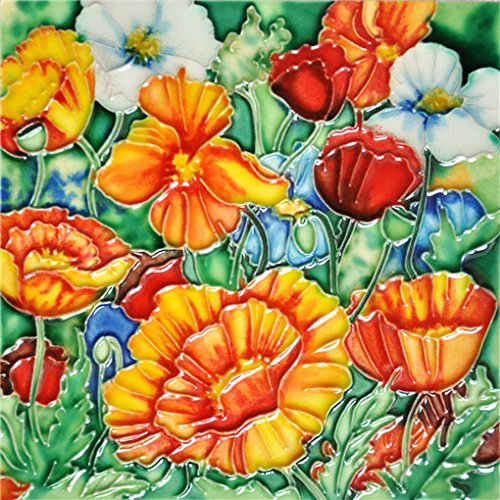 Poppies - Decorative Ceramic Art Tile - 6''x6'' En Vogue by En Vogue - Art on Tiles