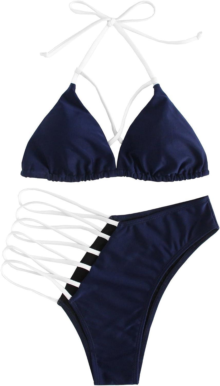 SOLY HUX Women's Sexy Halter Ladder Cutout Brazilian 2PCS Bikini Set Swimsuits
