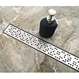 Neodrain 24-Inch Linear Shower Drain with Removable Random Quadrato Grate, Brushed 304 Stainless Steel Rectangle Shower Floor Drain,Floor Shower Drain With Adjustable Leveling Feet, Hair Strainer