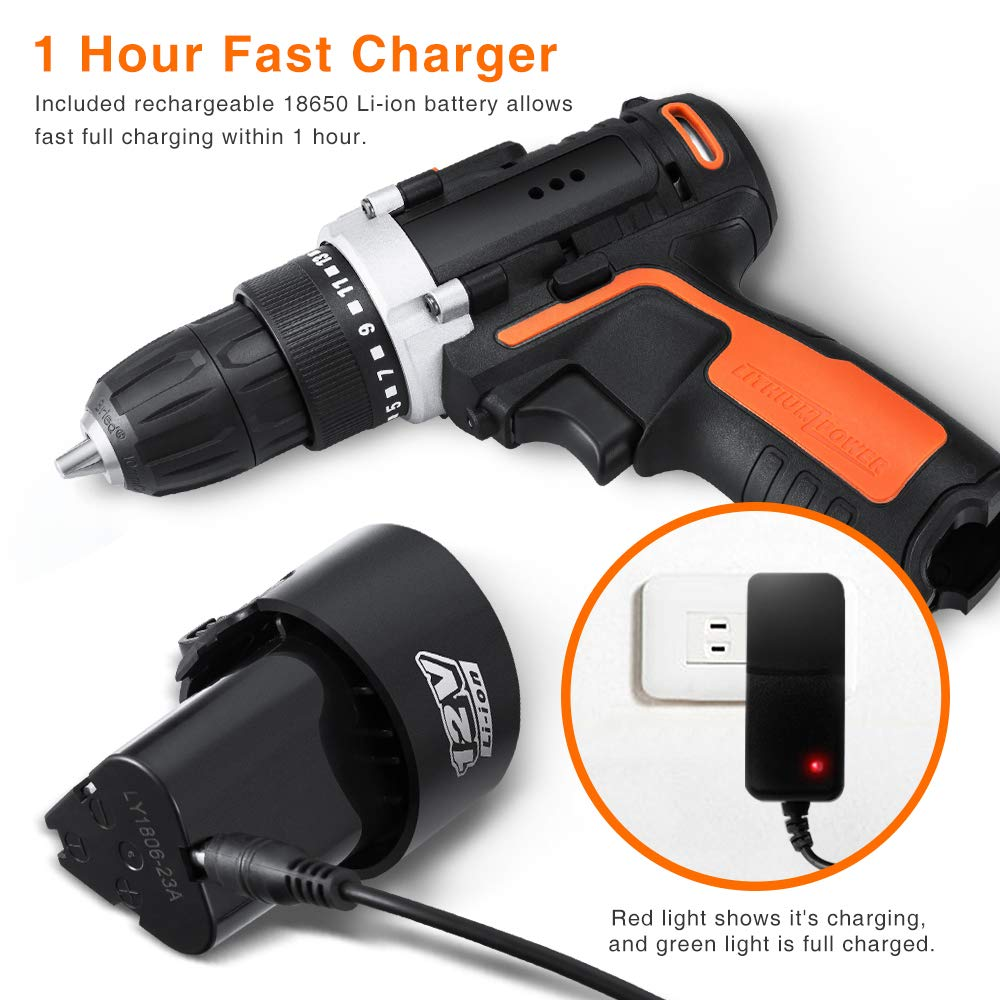 YIMALER 12V Cordless Drill Driver Kit Handheld Drill 1.5Ah Li-Ion 26 Accessories 3//8 Chuck Max Torque 265 In-Lb 2 Speed Fast Charger LED light for Household Jobs Battery Included