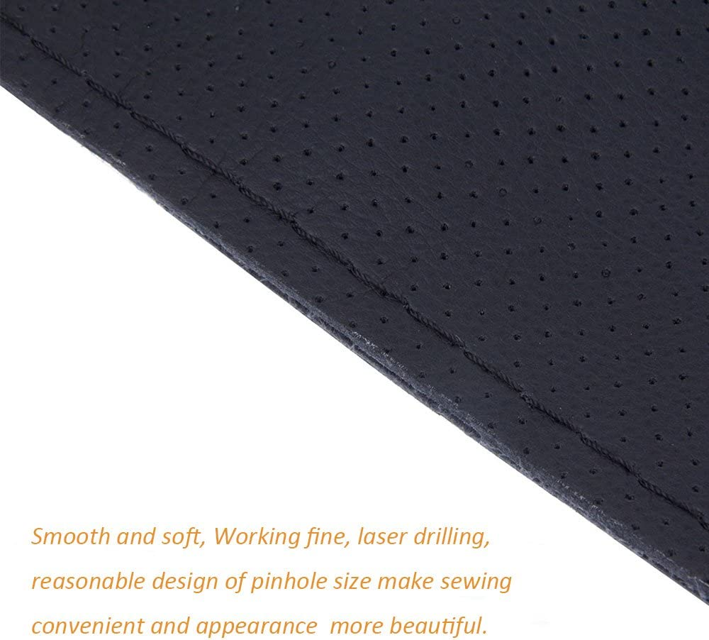 Gris 15 pouces Onerbuy Universal Leather Car Steering Wheel Stitch On Wrap Cover DIY Couture respirant et anti-glissement