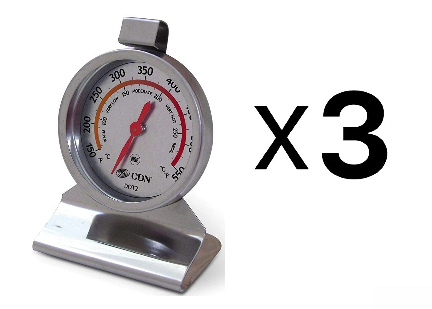 CDN DOT2 ProAccurate Stainless Steel Temperature Oven Thermometer NSF (3-Pack)