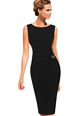9b253e65d66 VFSHOW Womens Black Elegant Ruched Work Business Office Cocktail Party  Sheath 2812 BLK XL