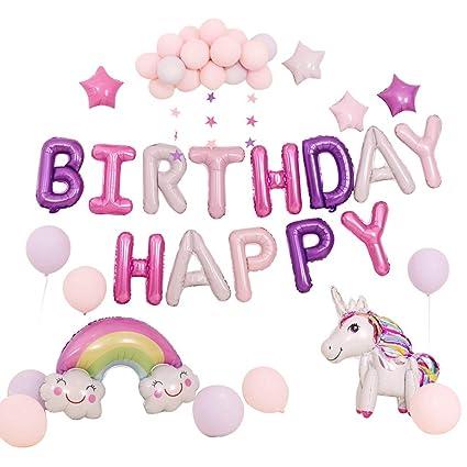 Lbsel Unicorn Birthday Balloon Set, Globos de decoración de ...