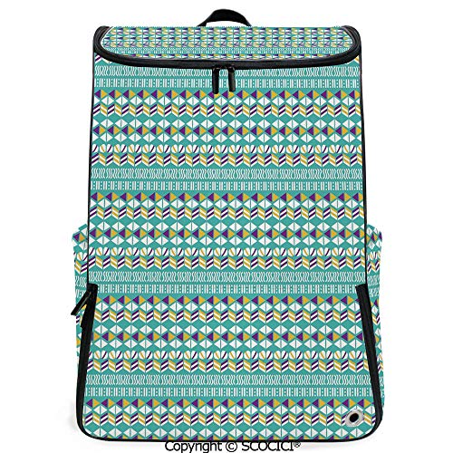 - SCOCICI Outdoor Travel Backpack,Modern Ethnic Mix with Triangles Wavy Ovals Stripes Pattern,Marigold Turquoise Purple White,with Sponge Padded Shoulder Straps