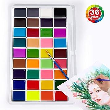 18 Colors Juego de Pintura de Colores con Pincel de Agua Proglam Pigmento de Acuarela para Suministros de Arte de Dibujo