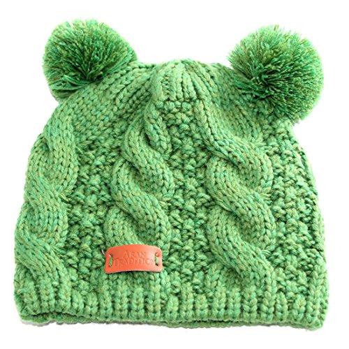 Beanie Green Aran Hat Double Emerald Traditions Bobble vxwOX