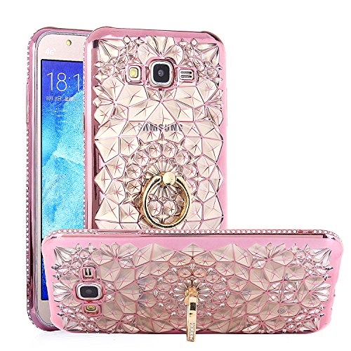 Galaxy J7 Case, Chrysalis Series - Ultra Slim Luxury Bling Rhinestone Case Cover with 360 Rotating Ring Grip/Stand Holder/Kickstand for Samsung Galaxy J7 J700 (2015) - Rose Gold