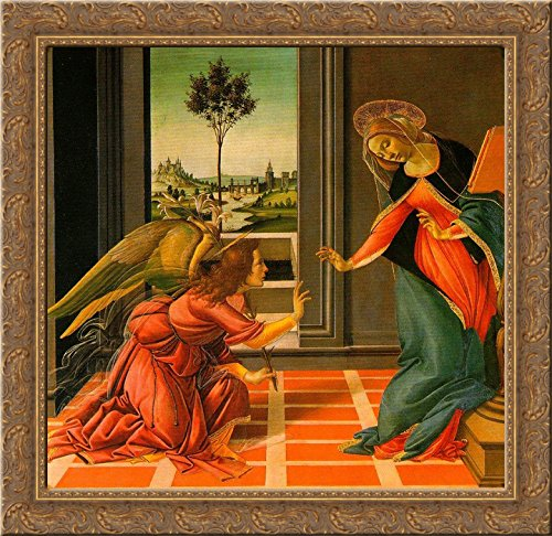 The Cestello Annunciation 20x20 Gold Ornate Wood Framed Canvas Art by Botticelli, - Botticelli Annunciation