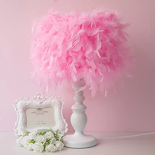 Pink Feather Table Lamp Bedroom Bedside Simple European Modern ...