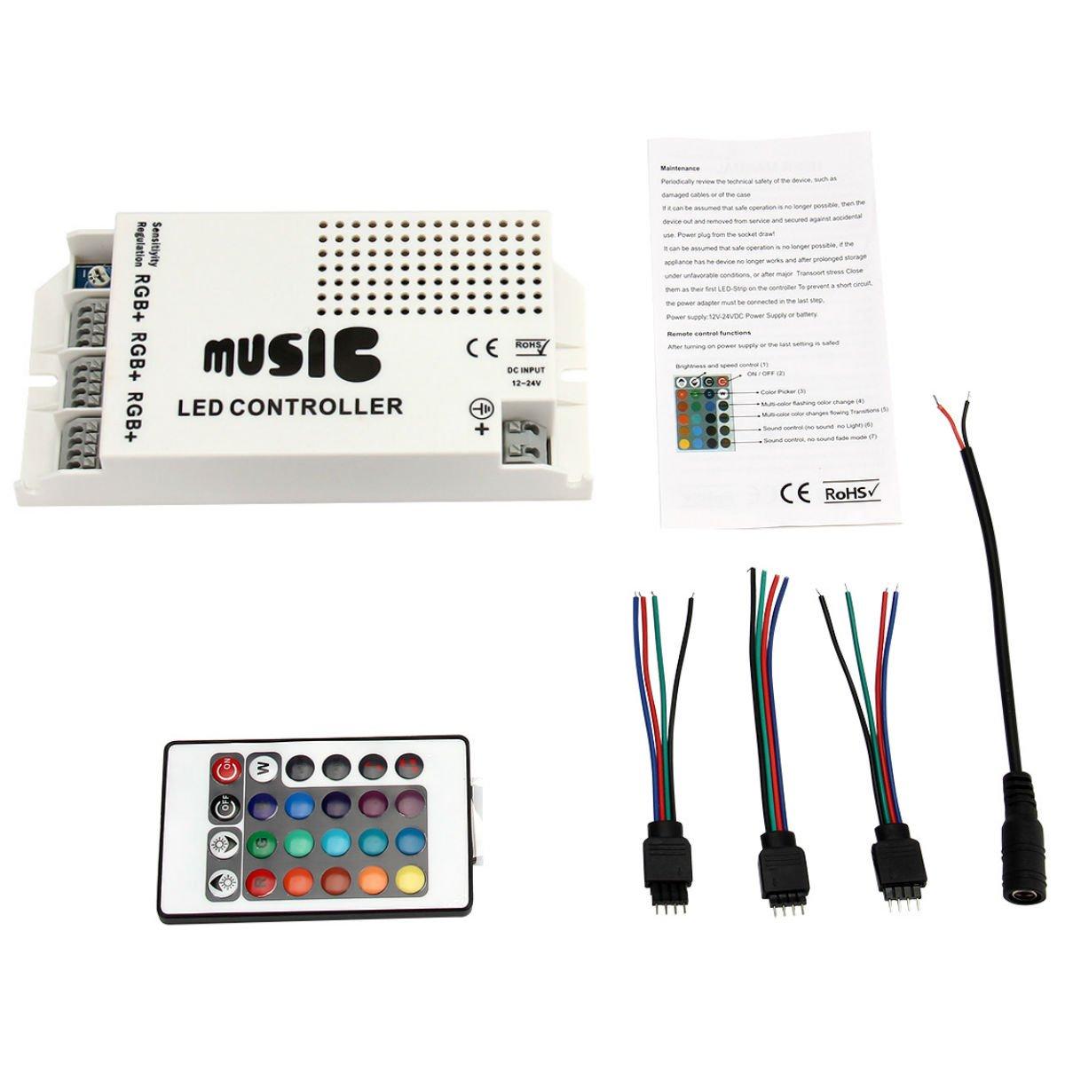 EPBOWPT RGB LED Strip Accessories DC12-24V LED Music Sound Controller, Dimmer, RGB 3-Way Output, with 24-key IR Remote Control for RGB Light strip(24 Keys IR Music Remote)