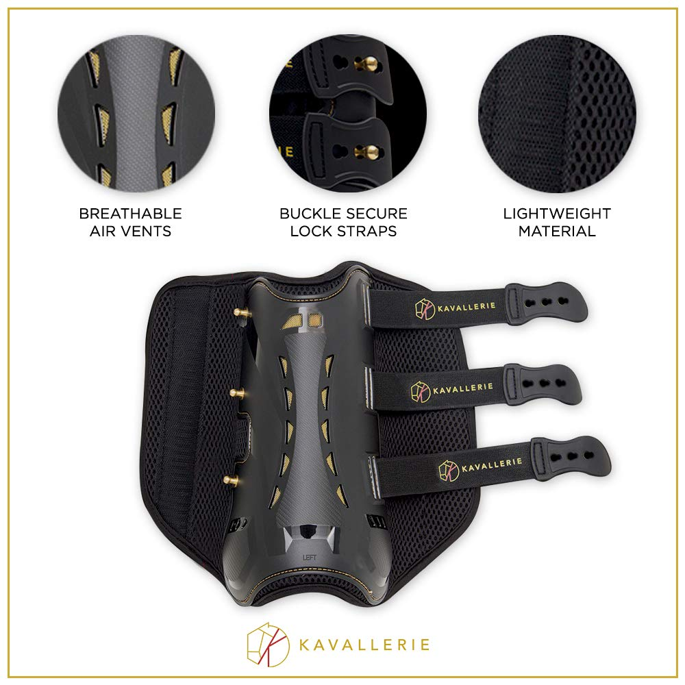 Dressage Boots for Horses by Kavallerie: Pro-K 3D Air-Mesh Horse Boots, Secure Leg Protection, Lightweight and Tough White & Black Dressage Sports Boots [Black] by Kavallerie (Image #4)