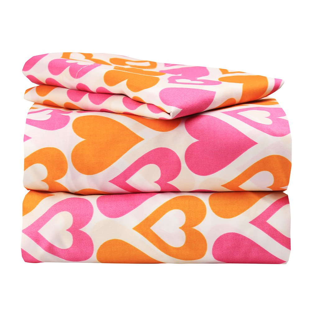 Super Soft Luxury Orange and Pink Hearts Bed Sheet Set in 8 Different Prints