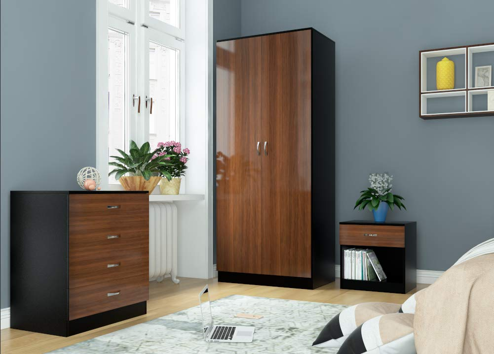 Harmin Ltd HIGH GLOSS 3 Piece Bedroom Furniture Set - Includes Soft Close Wardrobe, 4 Drawer Chest & Bedside Cabinet (Black on Black)