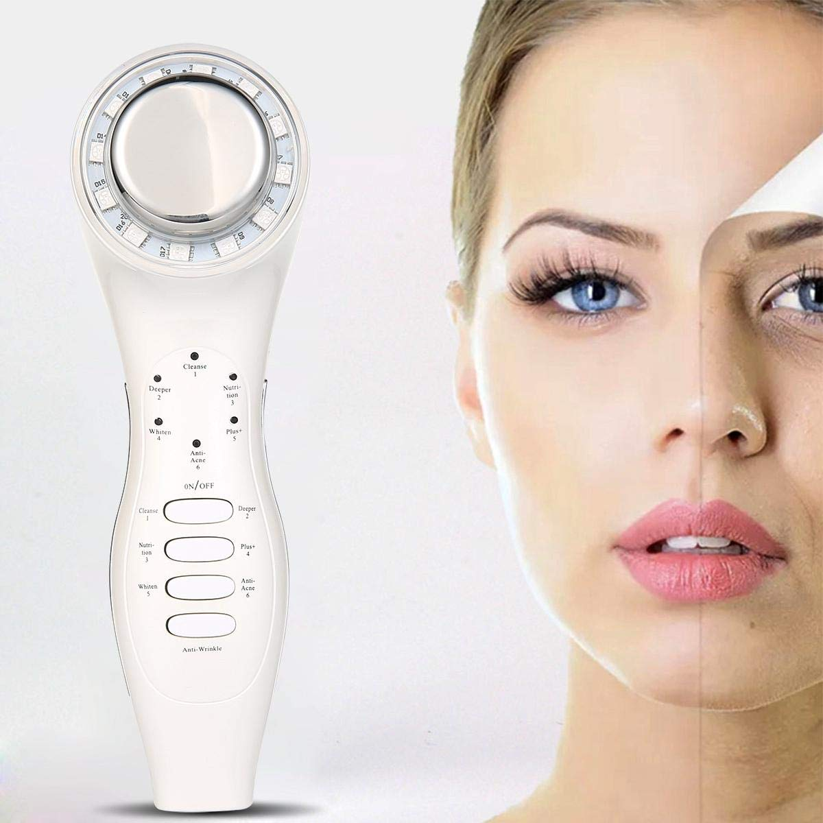 Hamkaw 5 IN 1 Skin Tightening Beauty MachineFace Massager, High Frequency Vibration Heating Iontophoresis Face Massager For Body And Face Skin Care, Cleanse, Smooth Fine Lines, And Tighten Skin