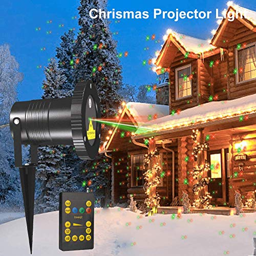 Zitrades Chrismas Projector Light Landscape Projector Lamp Patio Lights Outdoor Party Lights Star Red and Green Night Light Projector IP65 Backyard Garden (Red/Green) (Lights Green Projector Christmas)