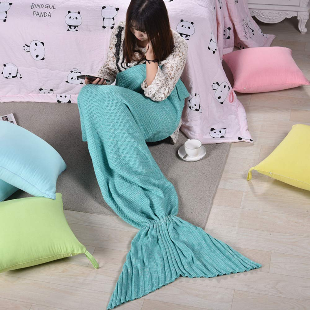Mermaid Tail Blanket, A Variety of Colors to Choose from, All Seasons Soft and Warm Sleep Mermaid Blanket, Children's Gifts, Birthday Gifts,Green by Sxfcool