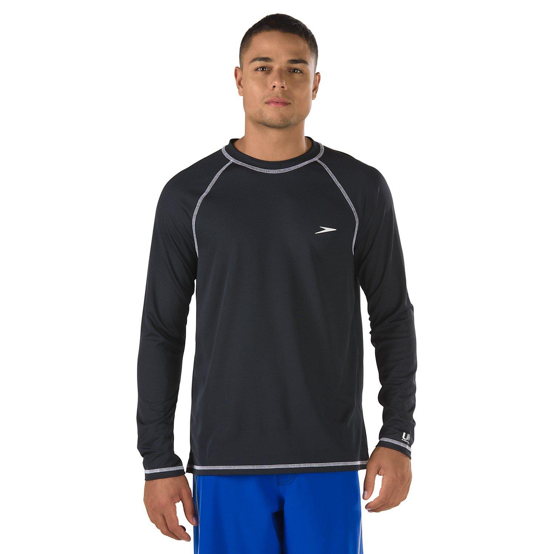 Flgoo 2 Pack Men's UPF 50+ UV Sun Protection Outdoor Long Sleeve Performance with Speedo Swim Competiton (Black, XX-Large) by Flgoo